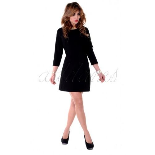 Sukienka czarna szara dresowa kieszeń P212