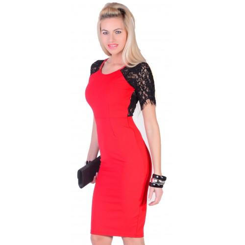 Modna sukienka z koronką na tyle i przodzie P293