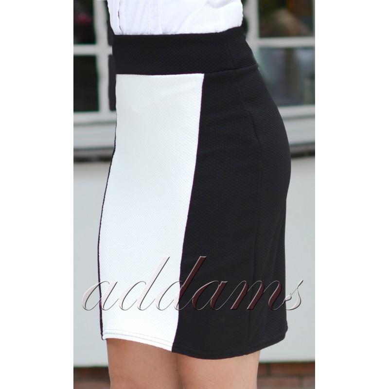 Elegancka wyszczuplająca spódnica czarno-biała P121