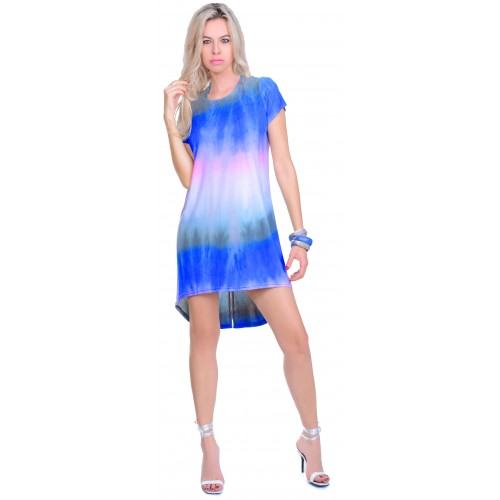 Żywa kolorowa sukienka przedłużana OMBRE P837