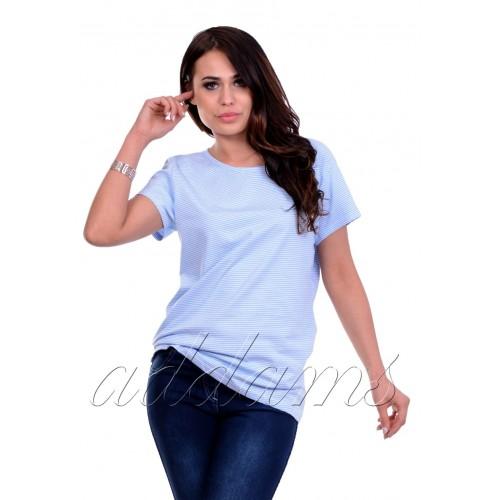 Stylowa bluzka w paski biało-błękitna P684