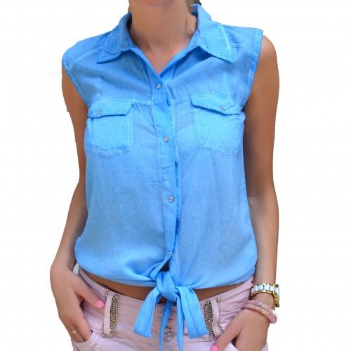 Luźna wiązana koszulka jeans P654