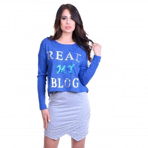 Asymteryczna bluzka sweterkowa TIFFANY P640