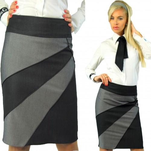 Elegancka spódnica szara wysoki stan P102