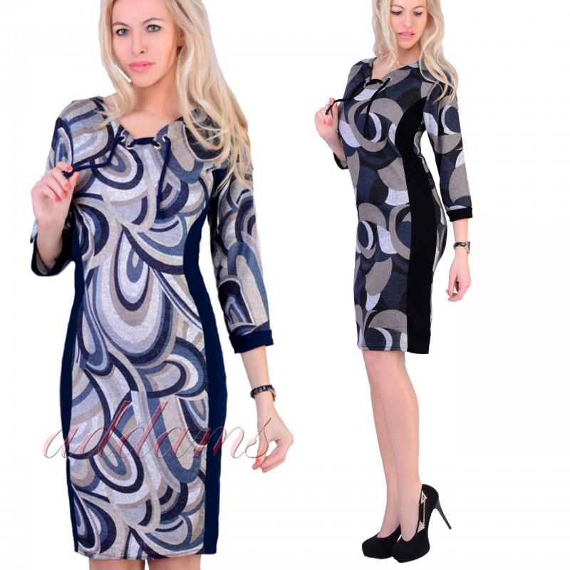 Sukienka dzianinowa sznurowany dekolt P824