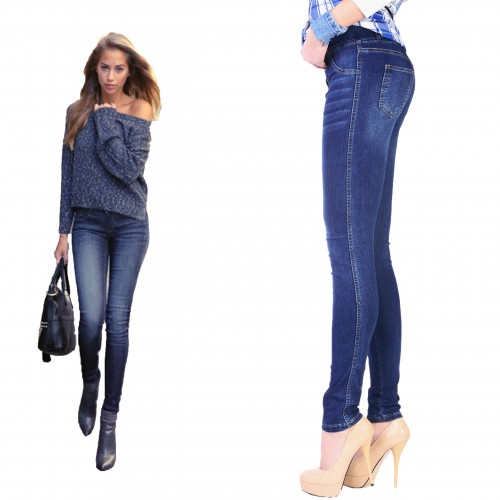 Elastyczne jeansy denim moda xl P342
