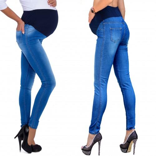 Modne jeansy bawełniane ciążowe P344