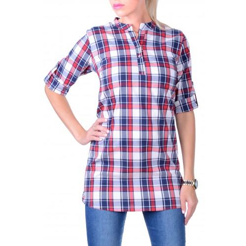 Elastyczna koszula w kratę przedłużana P605