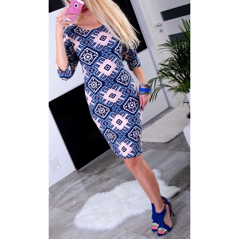 Kolorowa sukienka ołówkowa we wzory P848