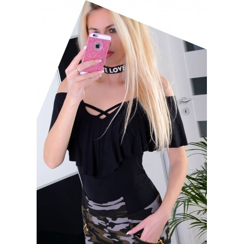 Sexy bluzka z modnymi strapsami P608