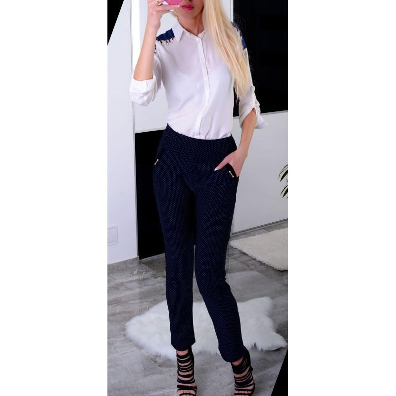 Spodnie z prostą nogawką w modne groszki P370