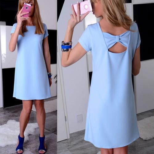 NOWOŚĆ!Trapezowa sukienka z kokardą na plecach P888