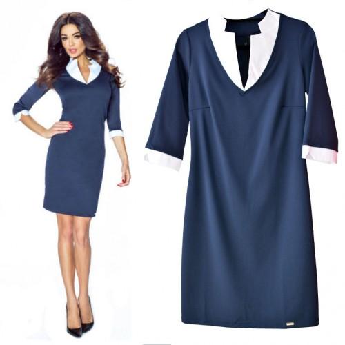 Elegancka Sukienka z oryginalnym kołnierzykiem E14
