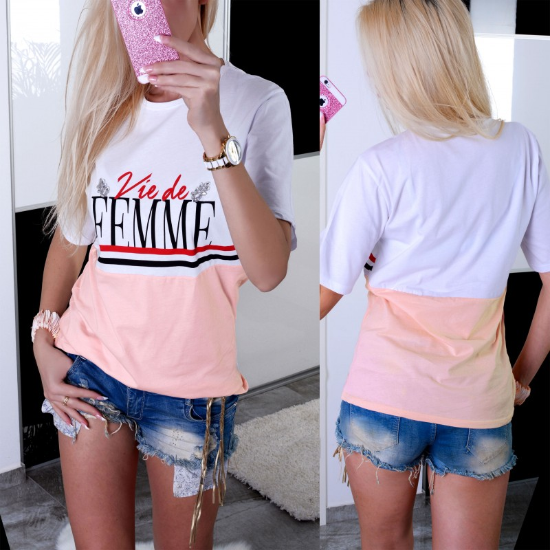 Żywa bluzka pudrowa Femme P616