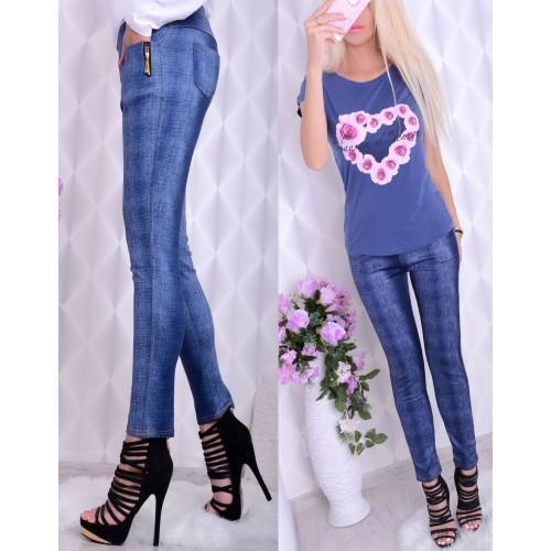 Elastyczne legginsy jak spodnie jeansowe P412