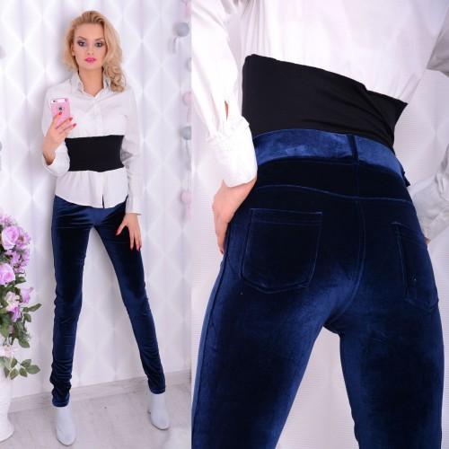 MODNE welurowe długie spodnie P380