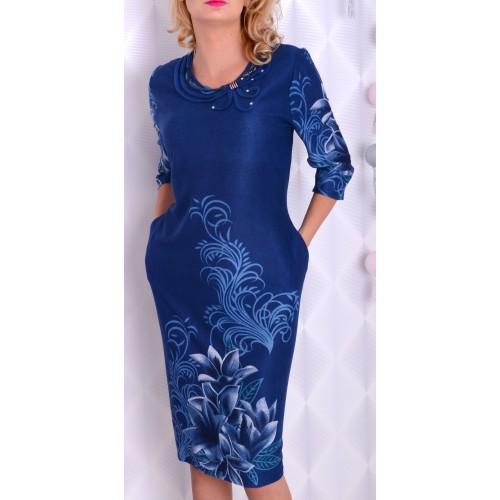 Ciepła sukienka midi w żywe kwiaty P889