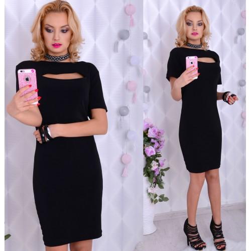 """Sexy sukienka """"mała czarna"""" z dekoltem łezką P891"""