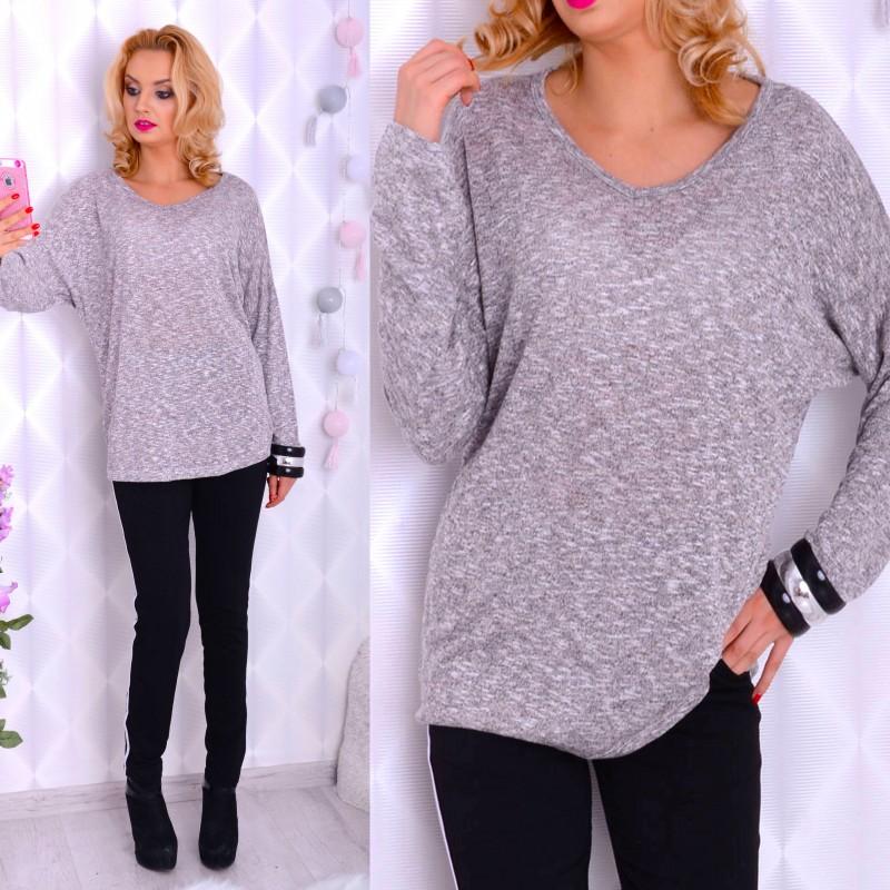 Luźny sweter - tuniczka w melanżu P627
