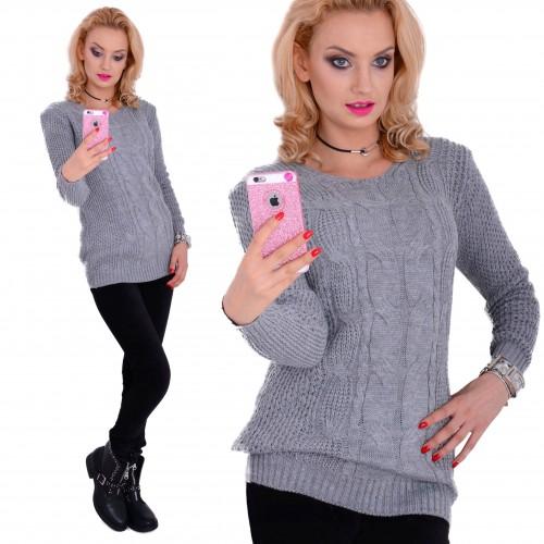 Modny, ciepły sweter o splocie warkocza P628