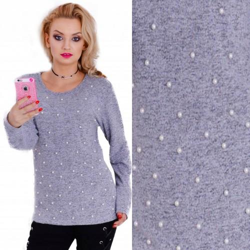 Ciepły sweterek - angorka z perełkami P639