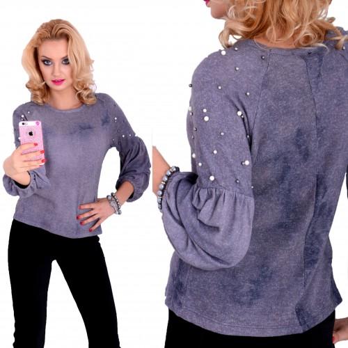Milusi sweterek angorka z perełkami  P636