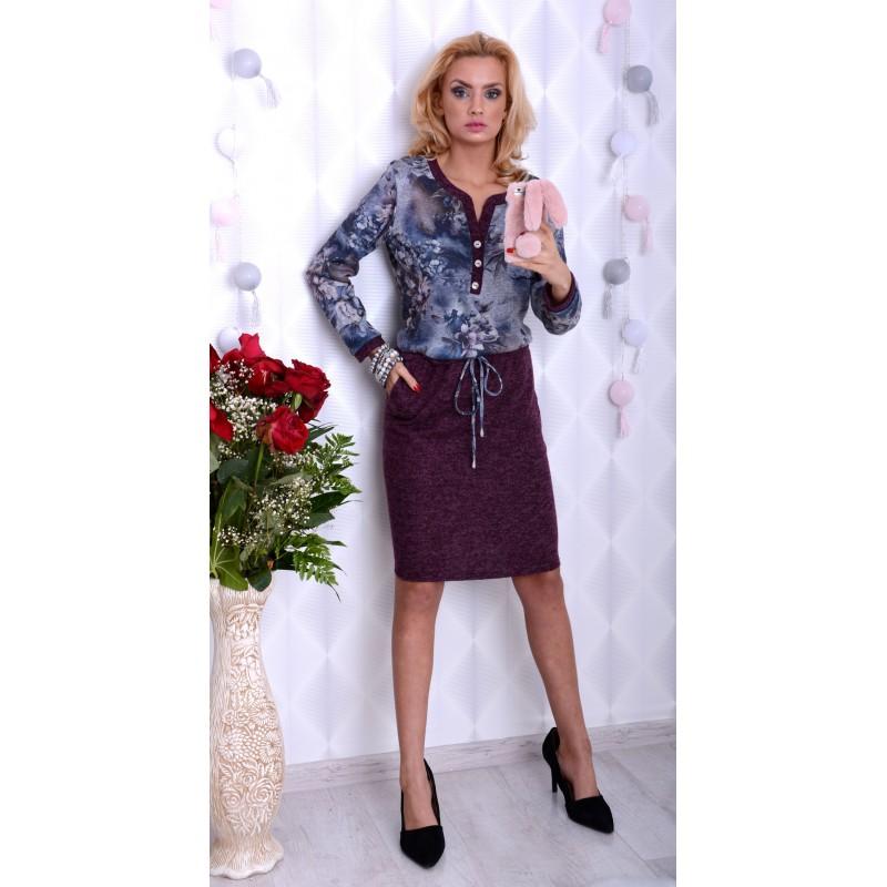 Elegancka sukienka wrzosowa wiązana P893