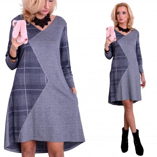 NOWOŚĆ! Wyszczuplająca trapezowa sukienka zygzak P899