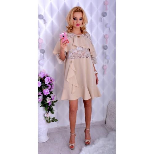 Elegancka sukienka beżowa trapezowa