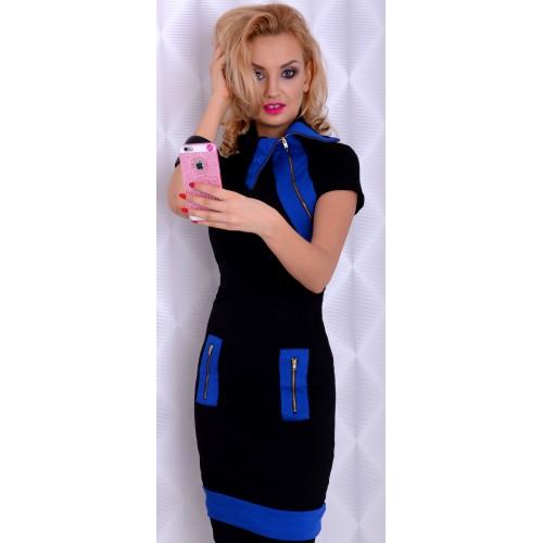 Sukienka dopasowana kołnierz szafirowe wstawki P290