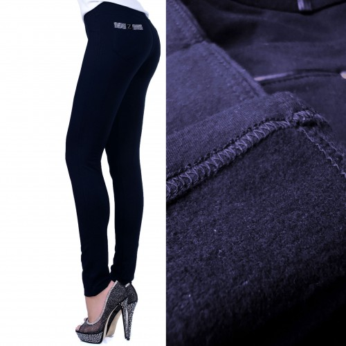 "Ocieplane spodnie czarne z literką ""Z"" P364A"