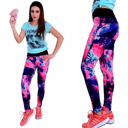 Neonowe legginsy FITNESS PUSH UP P409