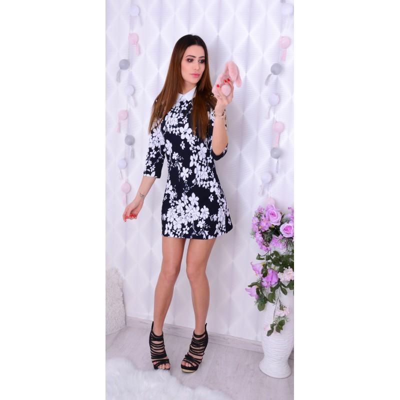 203c280056 Sukienka w kwiaty z kołnierzykim P211 - duże rozmiary - sklep ...