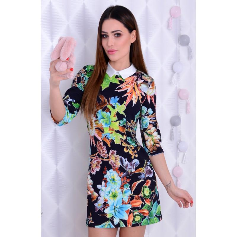 Sexy sukienka w kwiaty z kołnierzykiem P211