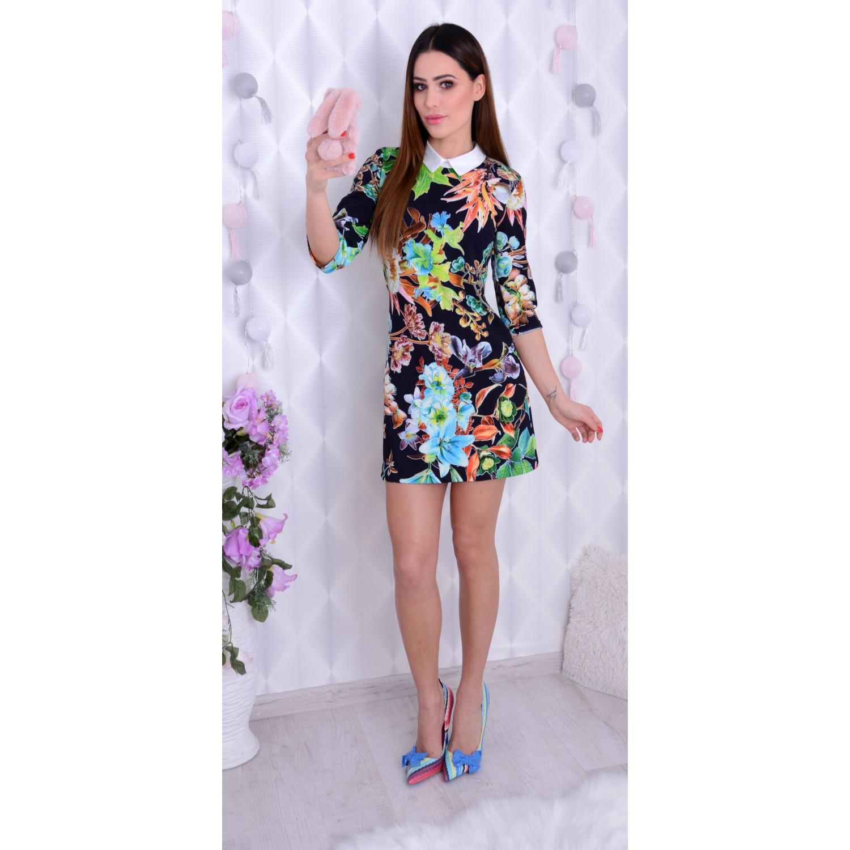 a347171a27 Sexy sukienka w kwiaty z kołnierzykiem P211 - duże rozmiary - sklep ...
