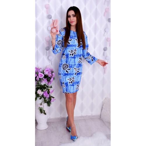 Niebieska sukienka w kwiaty 3D P215