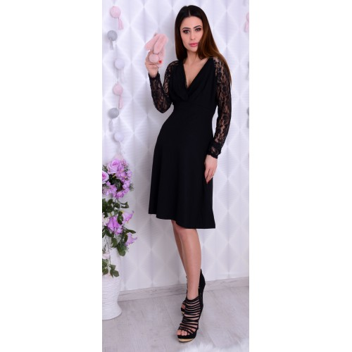Rozkloszowana sukienka ciążowa koronka P217
