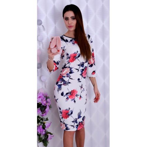 Sukienka ecru w kwiaty P222