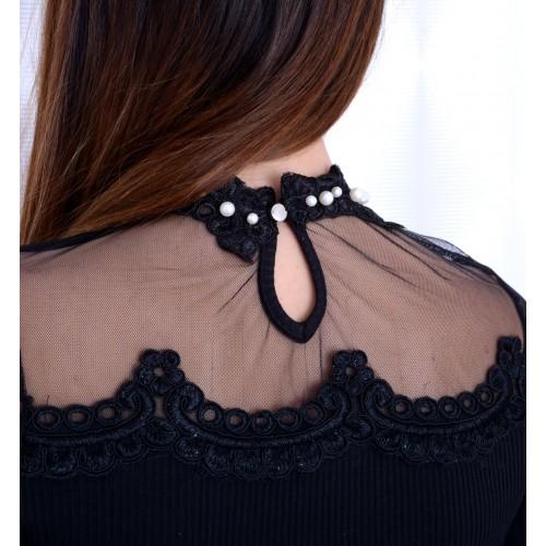 Sexy bluzka w prążki z tiulowym dekoltem P670