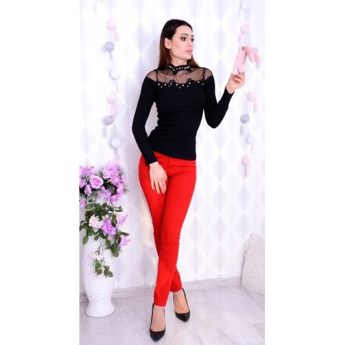 Czerwone spodnie cygaretki P343