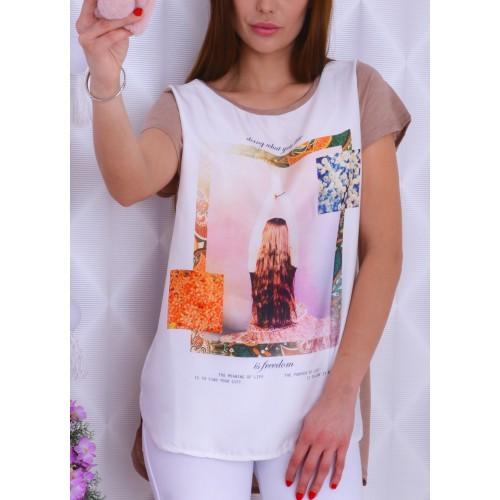 Śliczna bluzka z napisami Freedom  i włosy P661