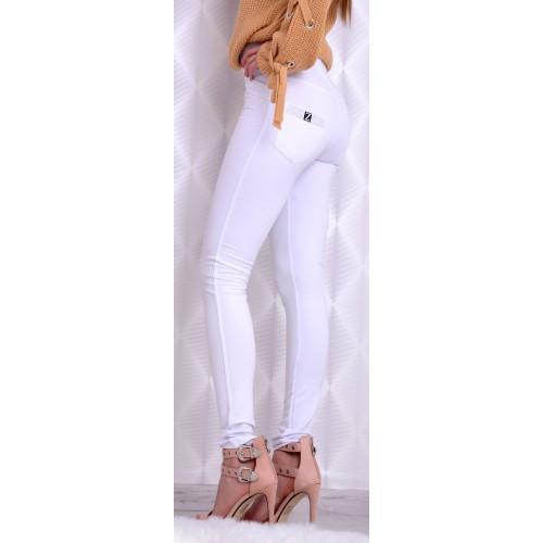 Modne tregginsy rurki białe DUŻE ROZMIARY P364