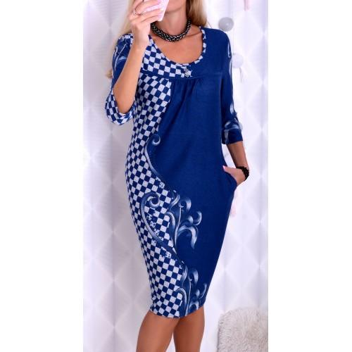 Sukienka dzianinowa w szachownicę P228