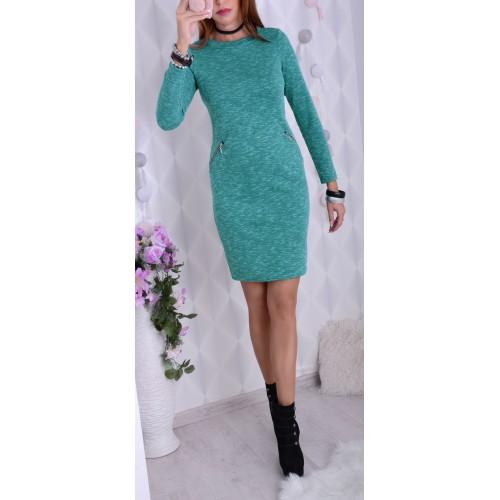 Ciepła sukienka z angorki zielona P233