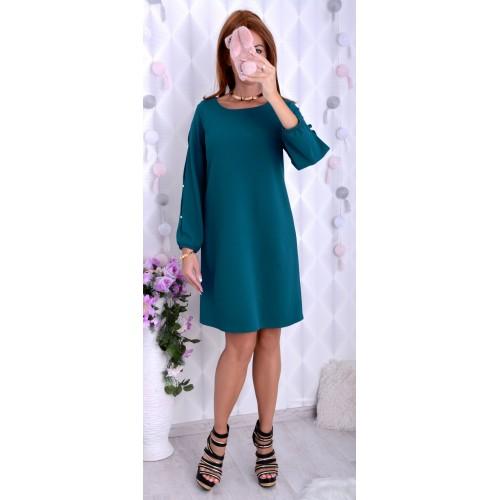 NOWOŚĆ!Śliczna sukienka w butelkowej zieleni P232