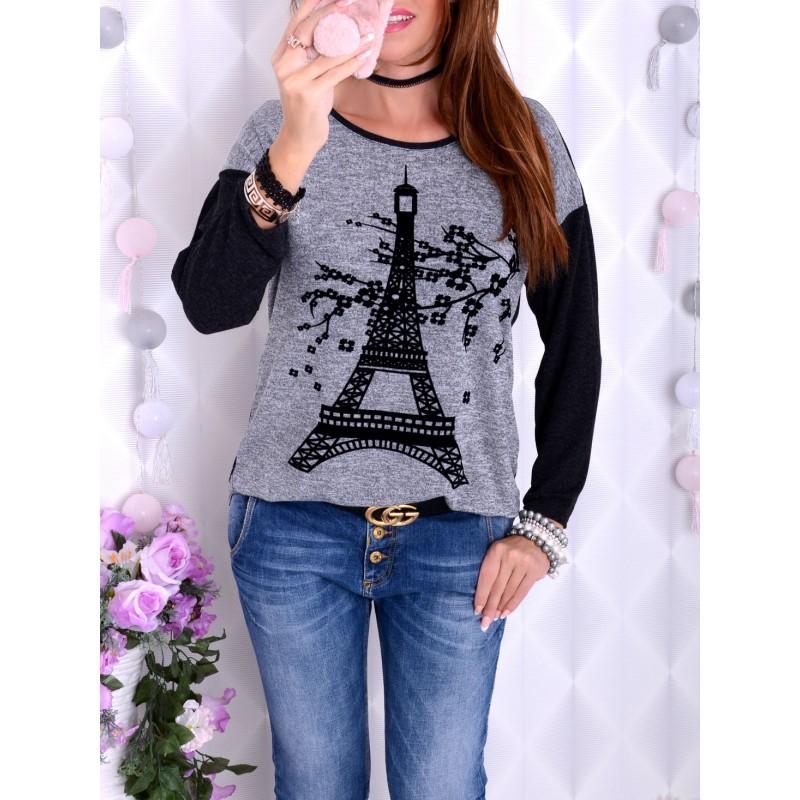 NOWOŚĆ! Śliczny sweterek z wieżą Eifflą P676