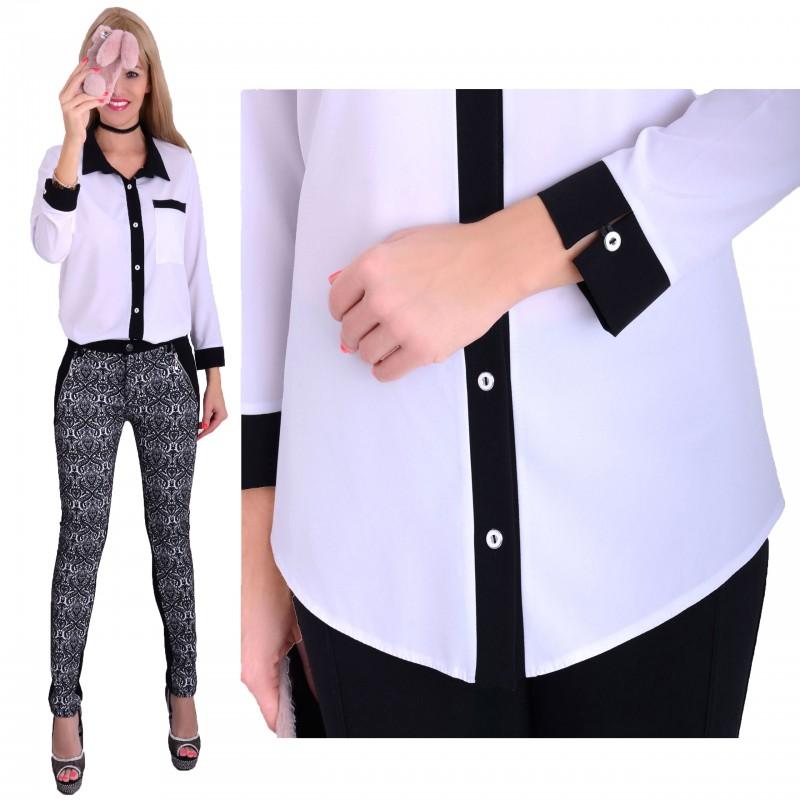 Elegancka koszula biało-czarna rozpinana P690