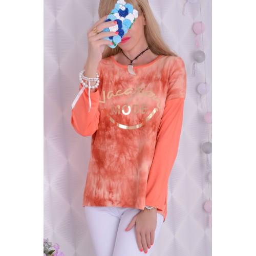 Sliczna bluzka łososiowa ze złotymi napiami FLUO P694