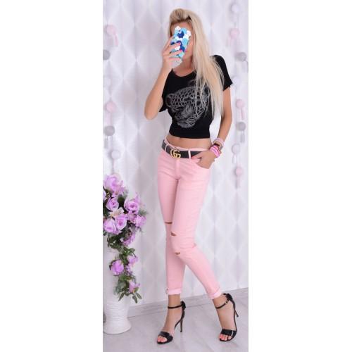 Pudrowe jeansy różowe  z dziurami P361
