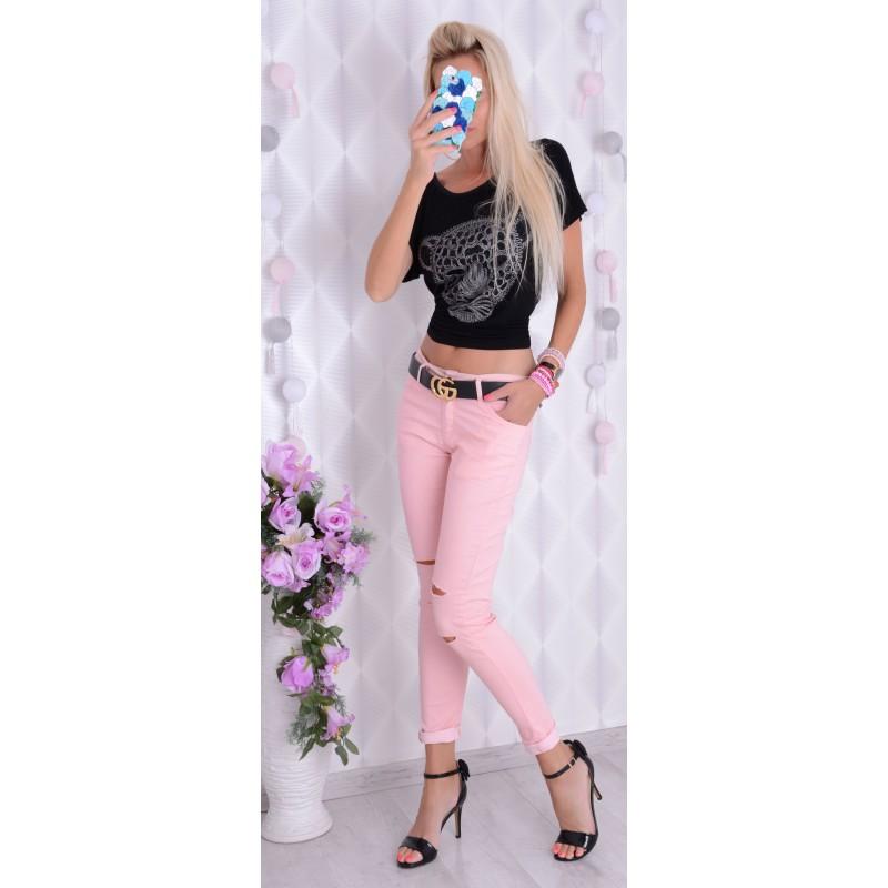 Pastelowe jeansy z dziurami P361